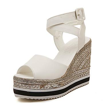 Черный / Белый - Женская обувь - На каждый день - Кожа - На танкетке - Стиль - Сандалии
