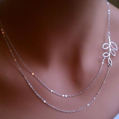 női ezüst üres ki levelek nyaklánc klasszikus női stílusban