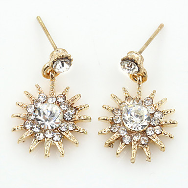 Κουμπωτά Σκουλαρίκια Κρυστάλλινο Στρας Επιχρυσωμένο απομίμηση διαμαντιών 18K χρυσό Μοντέρνα Χρυσό Ασημί Χρυσό Τριανταφυλλί Κοσμήματα 2pcs