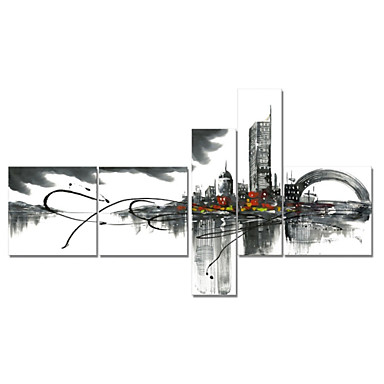 Hand-Painted Art Wall Decor Black White Cityscape Oil Painting on Canvas  5pcs/set (Without Frame)