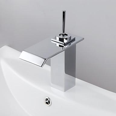Ванная раковина кран - Водопад Хром Разбросанная Одно отверстие Одной ручкой одно отверстие