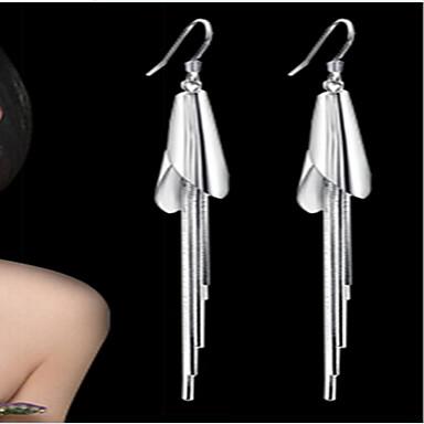 Feminino Brincos Compridos Europeu bijuterias Prata de Lei Prata Chapeada Jóias Para