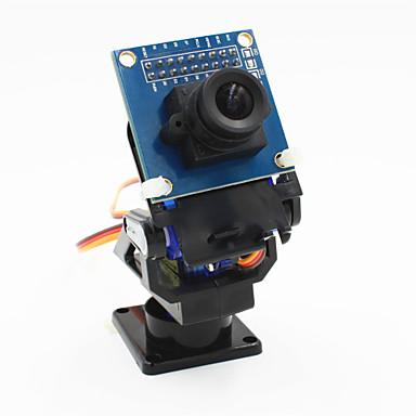 2-Achs-Schwenkkopf FPV Kamera + OV7670 Kamera-Set für Roboter / r / c Auto - Schwarz + Blau