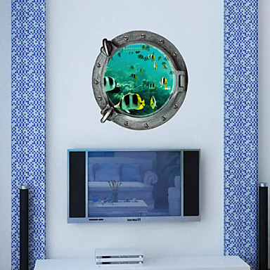 3D Wall Stickers Wall Decals Style Underwater World Waterproof PVC Wall Stickers