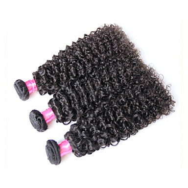 baratos Extensões de Cabelo Natural-3 pacotes Cabelo Brasileiro Kinky Curly 8A Cabelo Humano Ondulado Tramas de cabelo humano Extensões de cabelo humano / Crespo Cacheado