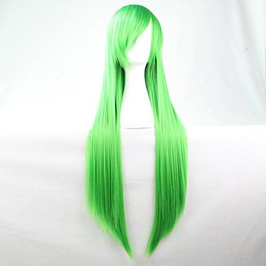 Новый аниме косплей зеленый длинные прямые волосы парик 80см
