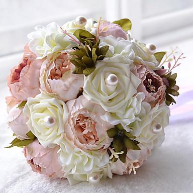 Λουλούδια Γάμου Μπουκέτα Γάμου Χάντρες Πολυεστέρας Σατέν Αφρός 12,2