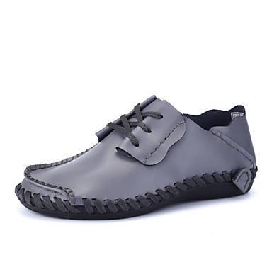Miehet kengät Nahka Kevät Kesä Valopohjat Oxford-kengät Käyttötarkoitus Kausaliteetti Musta Harmaa Ruskea Oranssi ja musta