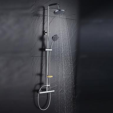 Współczesny Przytwierdzony do ściany Wodospad Deszczownica Zawiera prysznic ręczny Zawór ceramiczny Trzech otworów Dwa uchwyty trzy otwory