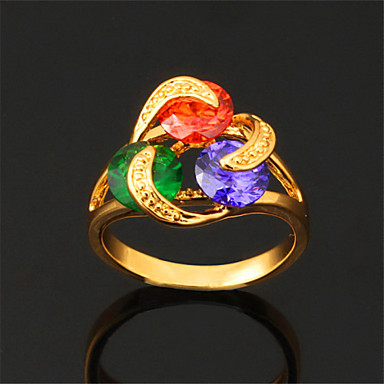 Women's Statement Ring - Cubic Zirconia, Gold Plated, Alloy Fashion 6 / 7 / 8 White / Rainbow For Wedding / Party / Daily / Casual / Sports