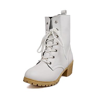 Femme Chaussures Similicuir Automne Hiver Talon Bottier Bottes Mi-mollet Lacet Pour Décontracté Habillé Blanc Noir Beige