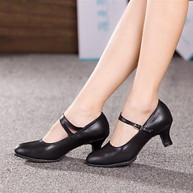 Chaussures de danse(Noir Rouge Argent Or) -Non Personnalisables-Talon Cubain-Cuir-Moderne