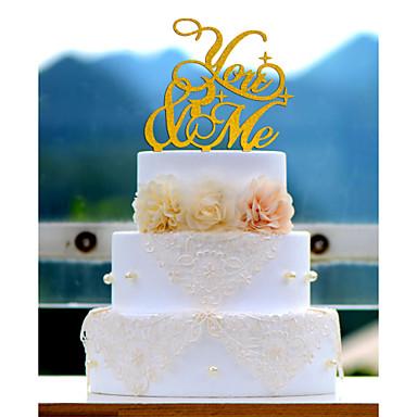 케이크 장식 비 개인화 아크릴 웨딩 / 기념일 / 결혼 측하 레드 / 화이트 / 골드 / 실버 / 그린 / 블루 1 폴리 가방