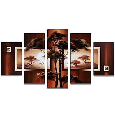 Ζωγραφισμένα στο χέρι Αφηρημένο οποιοδήποτε σχήμα Καμβάς Hang-ζωγραφισμένα ελαιογραφία Αρχική Διακόσμηση Πεντάπτυχα