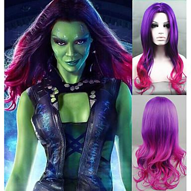 Synthetische Perücken Wellen Mittelscheitel Gefärbte Haarspitzen (Ombré Hair) Lila Damen Kappenlos Karnevalsperücke Halloween Perücke