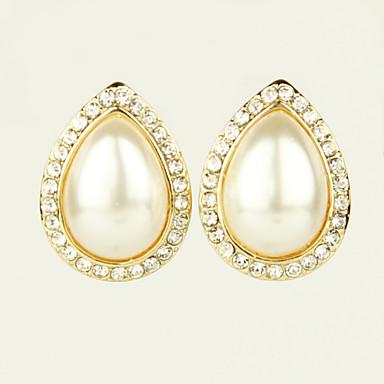 Boucles d'oreille goujon Bijoux Femme Alliage Imitation de perle Strass 2pcs Doré Blanc