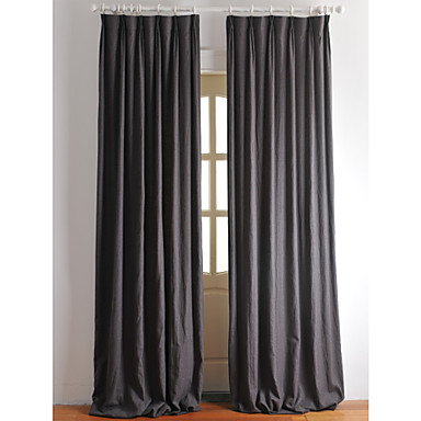 Curtains Drapes Bedroom Solid Colored Linen / Cotton Blend Print