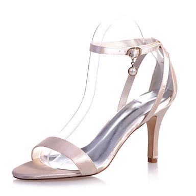 Γυναικεία παπούτσια - Πέδιλα - Γάμος / Πάρτι & Βραδινή Έξοδος - Τακούνι Στιλέτο - Ανοιχτή Μύτη - Σατέν -Μαύρο / Μωβ / Κόκκινο / Ιβουάρ /