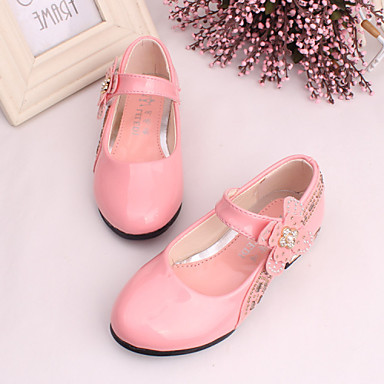 Girls' Shoes Dress/Casual Comfort Leather/Tulle Flats Black/Pink/Red/Coral
