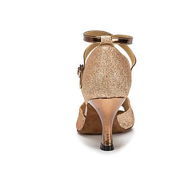 2cbfee1ebd9d Γυναικεία Παπούτσια χορού λάτιν / Παπούτσια σάλσα Δερματίνη Πέδιλα Αγκράφα  Τακούνι καμπάνα Εξατομικευμένο Παπούτσια Χορού Ασημί / Χρυσό / Μωβ /  Παιδικά ...