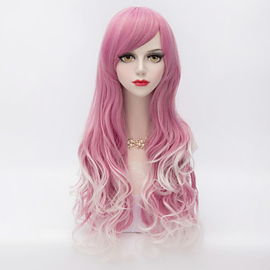 Harajuku Fashion Long Wavy Side Bang Hair Red Gradient White Synthetic Lolita  Women Wig