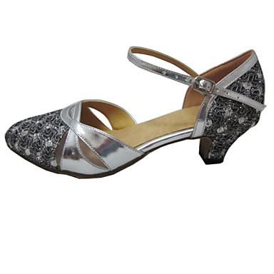 Damen Standard-Schuhe Glitzer Kunstleder Sandalen Innen Professionell Anfänger Praxis Maßgefertigter Absatz Silber Maßfertigung