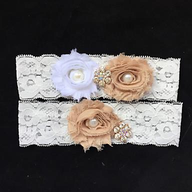 Dentelle Mode Jarretière de mariage - Strass / Imitation Perle / Fleur Jarretières