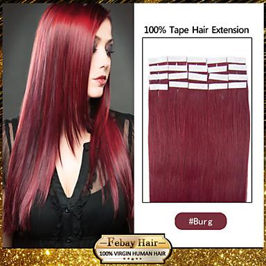 24inch индийский ленты в выдвижении человеческих волос шелковистые прямые 20шт 50г бурга