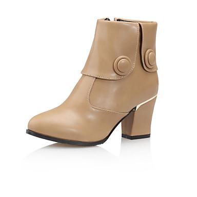 Støvler-Kunstlæder-Modestøvler-Dame-Sort Grøn Mandel-Udendørs Kontor Fritid-Tyk hæl