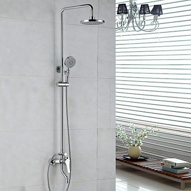 Moderne Duschsystem Regendusche Handdusche inklusive Keramisches Ventil Zwei Löcher Einzigen Handgriff Zwei Löcher Chrom, Duscharmaturen