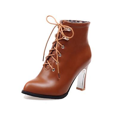 Γυναικεία παπούτσια - Μπότες - Φόρεμα - Χοντρό Τακούνι - Μποτίνι / Μυτερό - Δερματίνη - Μαύρο / Καφέ / Μπεζ