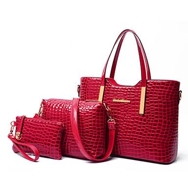 ad3a7fa45f Γυναικεία Τσάντες Λουστρίνι   PU Tote   Τσάντα ώμου   Σετ τσάντα 3 σετ Σετ  τσαντών Μονόχρωμο Μαύρο   Βυσσινί   Κόκκινο   Τσάντα Σετ