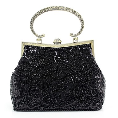 Women's Bags Silk Evening Bag Imitation Pearl / Flower Black / Claret-red