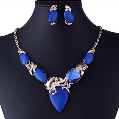 Resina Conjunto de jóias - Strass, Imitações de Diamante Luxo, Vintage, Festa Incluir Azul Para Festa / Brincos / Colares