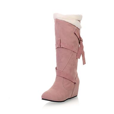 Mulheres Sapatos Courino Inverno Outono Conforto Botas da Moda Botas Caminhada Salto Plataforma Ponta Redonda Presilha para Social Preto