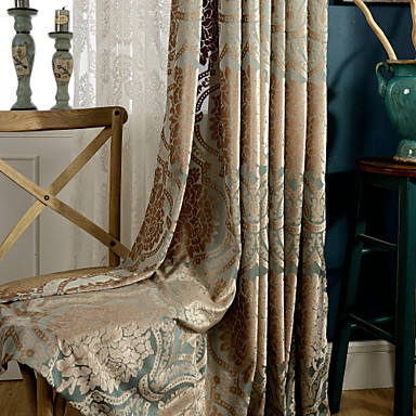 One Panel Blue Gold Jacquard Classic  Velvet Curtain Drape