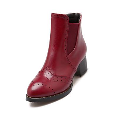 Støvler-laklæder Kunstlæder-Komfort Basispumps Ridestøvler Modestøvler-Dame-Sort Gul Rød Beige-Kontor Formelt Fritid-Tyk hæl