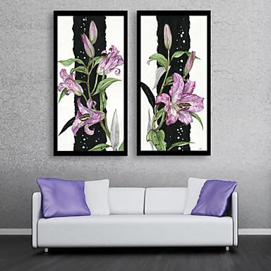 Oprawione płótno Zestaw w oprawie Kwiatowy/Roślinny Wypoczynek Botaniczny Wall Art, PVC (polichlorek winylu) Materiał z ramą Dekoracja