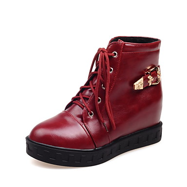 Bootsit-Platform-Naisten-Tekonahka-Musta / Punainen / Valkoinen-Ulkoilu / Toimisto / Rento-Platform / Saappaat / Bootie