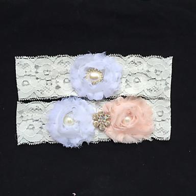 Koronka Podwiązka ślubna - Stras Sztuczna perła Kwiat