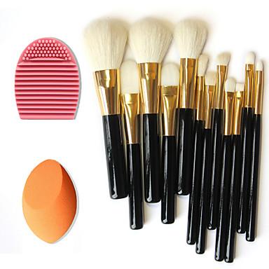 12шт чистой шерсти макияж кисти + щетка очистки инструмента + красота макияж основа яйцо слоеное (ассорти комплектов)