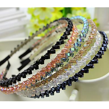 povoljno Perike i ekstenzije-Južna Koreja uvozi ukosnica vještački dijamant beaded glavu Hoop dekoracije dvostruko kristalno red kose bend ljubičasta