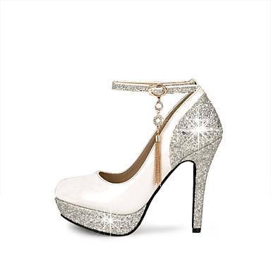 Women's Shoes Leatherette Spring / Summer Stiletto Heel / Platform Buckle White / Black / Red / Wedding / Party & Evening