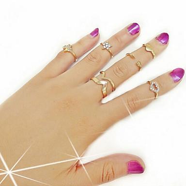 Anéis Casual Jóias Liga Feminino Anéis Meio Dedo 1conjunto,7 Dourado