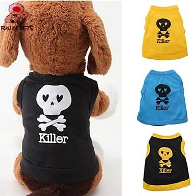 Γάτα Σκύλος Φανέλα Σύνολα Ρούχα για σκύλους Χαριτωμένο Καθημερινά Νεκροκεφαλές Μαύρο Κίτρινο Μπλε Μαύρο/Κίτρινο Στολές Για κατοικίδια