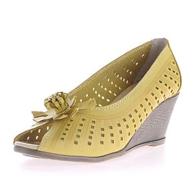 Feminino Sapatos Couro Verão Salto Plataforma Vazados Para Casual Preto Bege Amarelo