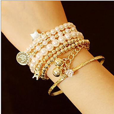 Damen Mehrschichtig Manschetten-Armbänder Strang-Armbänder - Perle, Künstliche Perle Turm Klassisch, Mehrlagig Armbänder Schmuck Golden Für Weihnachts Geschenke Alltag Normal