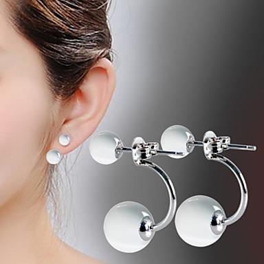 Mulheres Opala Brincos Compridos - Prata de Lei, Prata Chapeada, Opala Fashion Cor Ecrã Para Diário