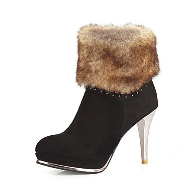 女性-アウトドア オフィス カジュアル-レザーレット-スティレットヒール-ファッションブーツ-ブーツ-ブラック ブラウン グリーン