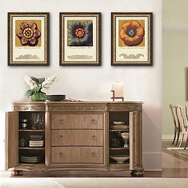 Oprawione płótno Zestaw w oprawie Kwiatowy/Roślinny Postarzane Botaniczny Wall Art, PVC (polichlorek winylu) Materiał z ramą Dekoracja
